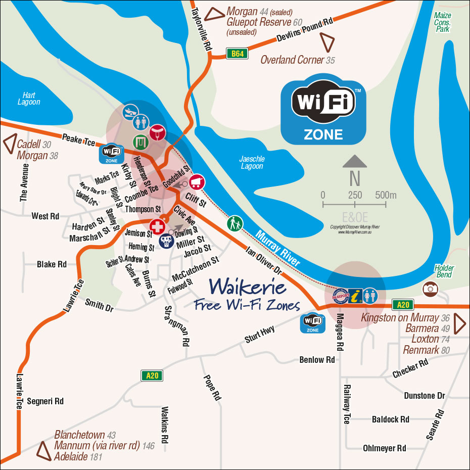 Waikerie Free Wi-Fi Zone Map