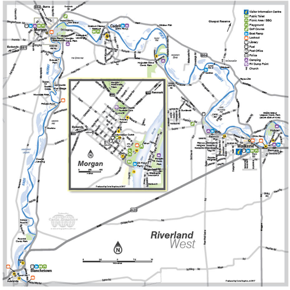 Waikerie and Riverland West map
